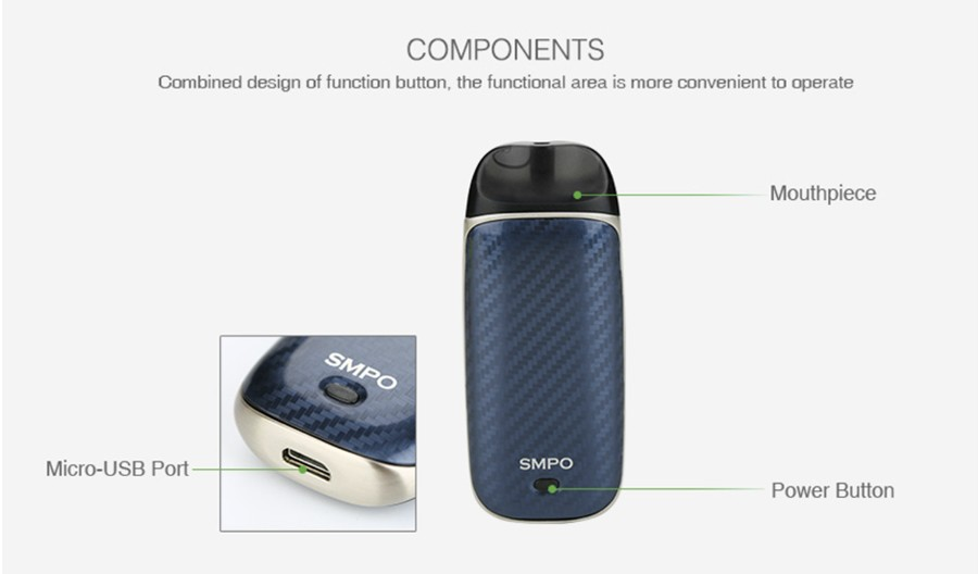 The SMPO Ultra Portable vape starter kit has a striking design with an ergonomic feel.