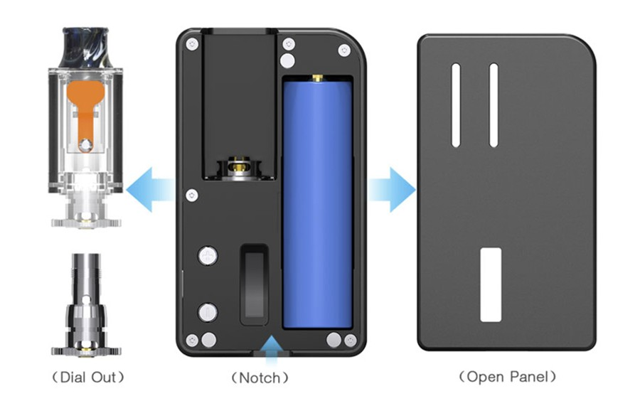 Each Aspire Mulus vape kit can be powered by a 18650 vape battery