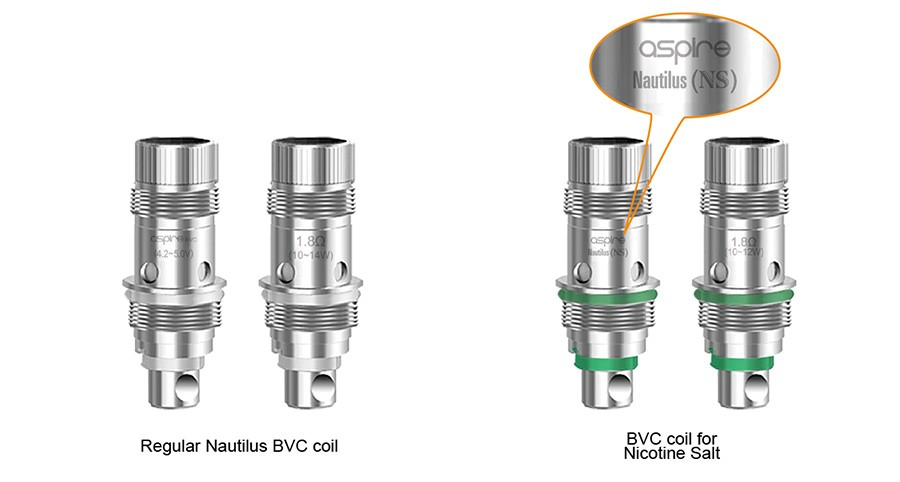The Nautilus utilises two types of BVC coils, depending on your choice of e-liquid.