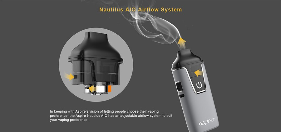 The Aspire Nautilus AIO pod kit features an adjustable airflow to give users full control of their inhale.