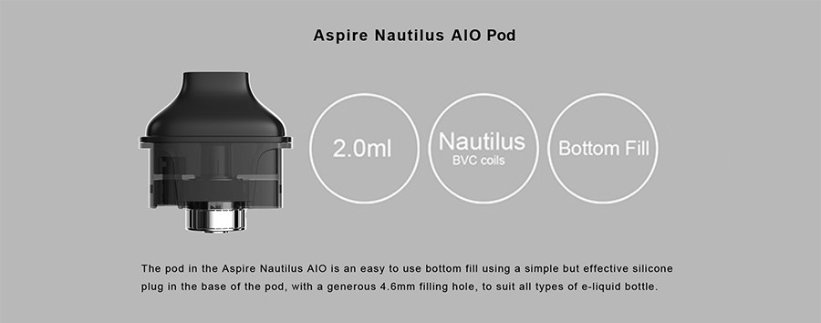 The Nautilus AIO 2ml pods provide a simple operation and an easy refill due to the silicone bottom fill plug.