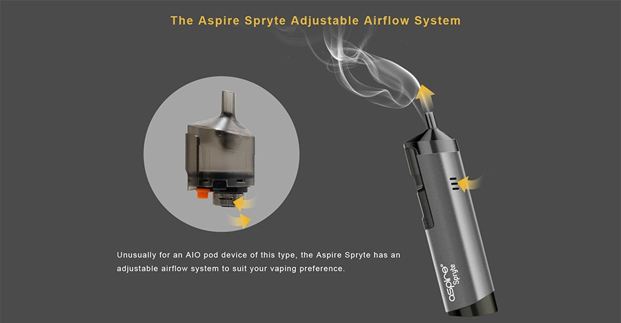 The Spryte pods feature an innovative adjustable airflow to give the user full control of their inhale.