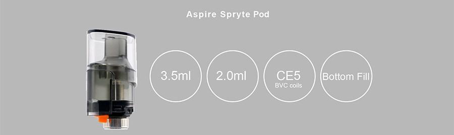 The 2ml Aspire Spryte pods feature a bottom fill system and utilises CE5 BVC coils.