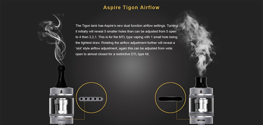 The Tigon 2ml tank features a range of in-depth airflow options to suit your vaping style.