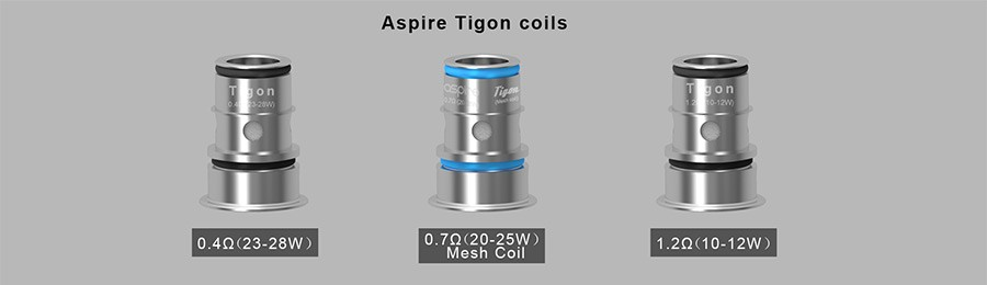 The Aspire Tigon 2ml tank employs three types of coils, including a 0.7 Ohm mesh option and a 1.2 Ohm MTL variant, to suit your style.