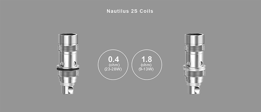 The Nautilus 2S vape tank is compatible with two coils; a 0.4 Ohm for sub ohm vaping or a 1.8 Ohm for those who prefer MTL vaping.