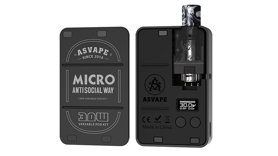 The Asvape Micro features a pocket-friendly and stylish design with a 1100mAh battery.