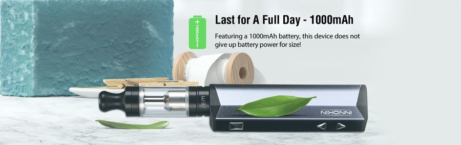 A large capacity 1000mAh built-in battery lasts for up to a day's vaping when fully charged.