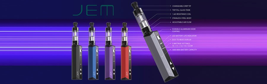 The Innokin JEM is a vape starter kit featuring a lightweight design and a 1000mAh built-in battery.