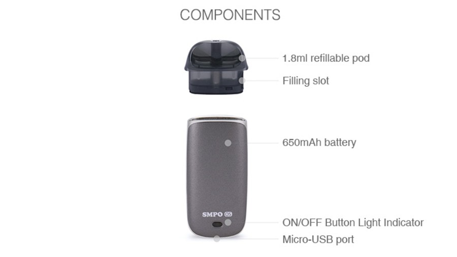 The SMPO OS AIO pod kit is a refillable device with a 650mAh built-in battery.