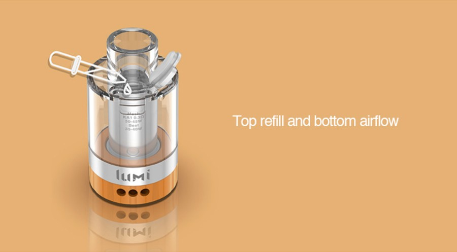 The 2ml Geekvape Lumi sub ohm tank is disposable and features top refill and adjustable bottom airflow