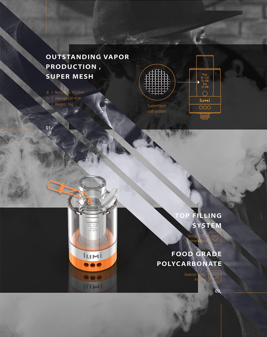The 2ml Lumi tank is a refillable, disposable vape tank which utilises mesh coils.