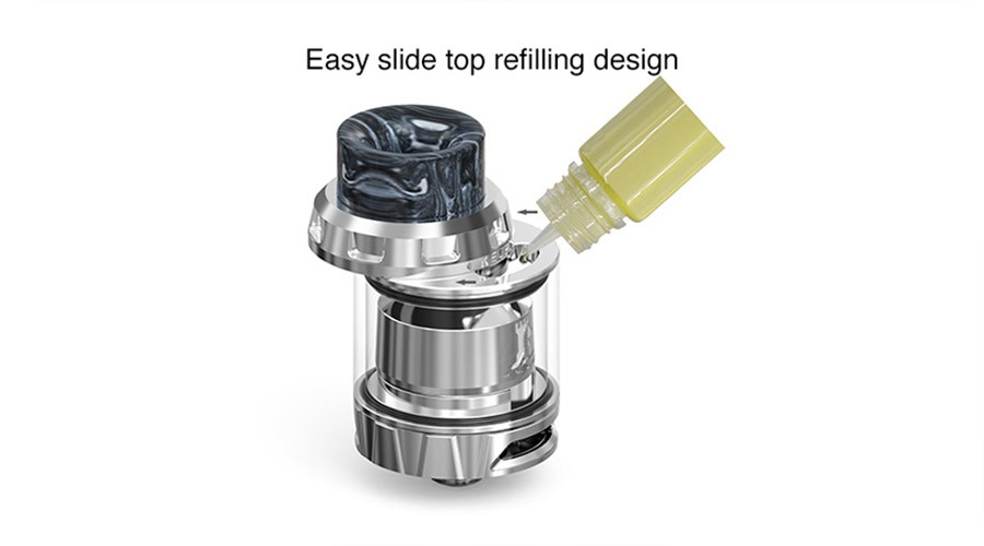 The EhPro Kelpie RTA is simple to refill thanks to the sliding top-fill mechanism.