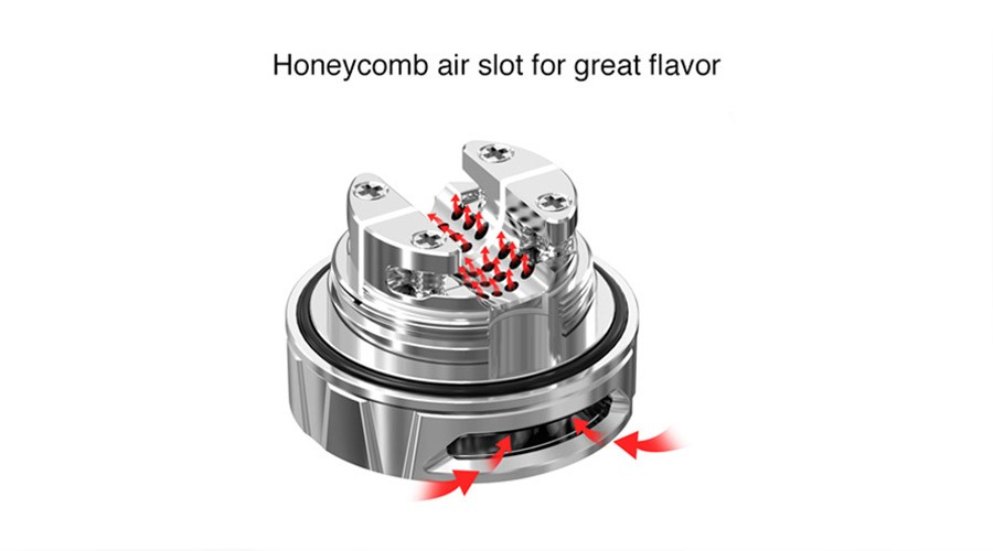 The honeycomb airflow that sits under your coil will ensure a constant flow of vapour, for better flavour.