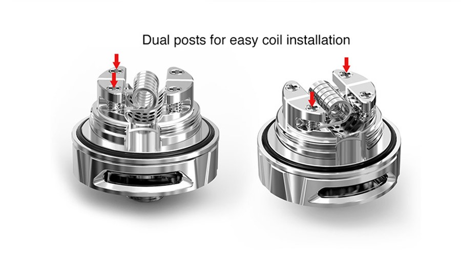 The Kelpie rebuildable atomiser will support single coil builds, and the build deck makes wire easy to fit.