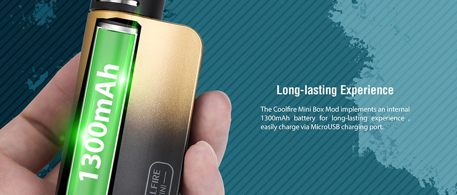 The Coolfire Mini box mod features a large capacity 1300mAh built-in battery, which can be recharged via micro USB.