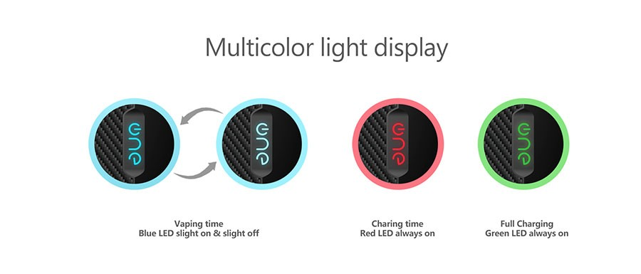 The Lambo pod kit features a multi colour LED light battery life indicator to signify when in need of charge.
