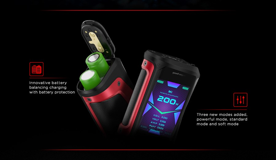 The Aegis X vape mod is powered by two 18650 vape batteries.