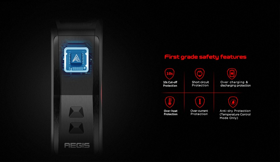 The aegis X 200W vape device offers a range of safety protections to protect you and the device.