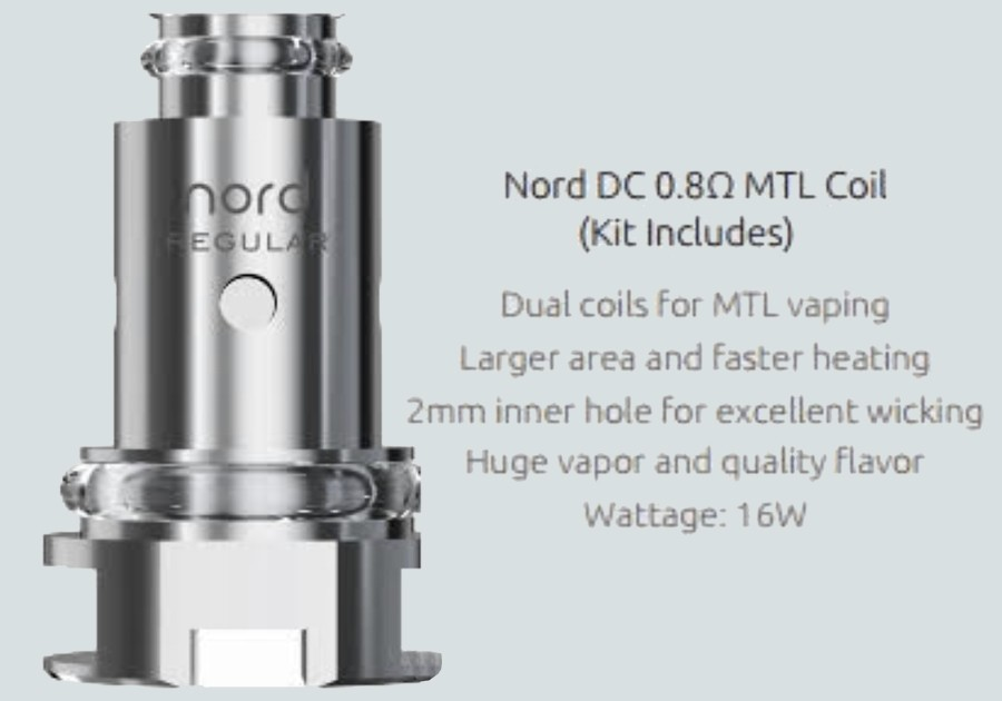 The 2ml Nord 2 Nord refillable pods employ the Nord DC 0.8 Ohm coils with a dual coil build, delivering an MTL vape.