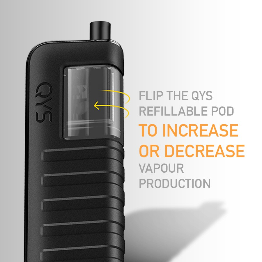 Change the way you vape by rotating the QYS pod, for increased or decreased vapour production.