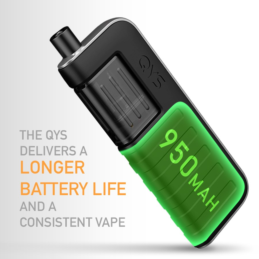 The QYS 950mAh built-in battery offers a full day of vaping and consistent vapour output for longer.