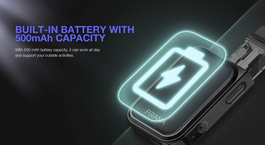 A rechargeable 500mah battery is built into the device providing power and a longer battery life.