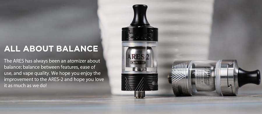 The Innokin Ares 2 is a MTL RTA which features a 2ml e-liquid capacity and a 510 connection point to pair with the majority of vape mods.