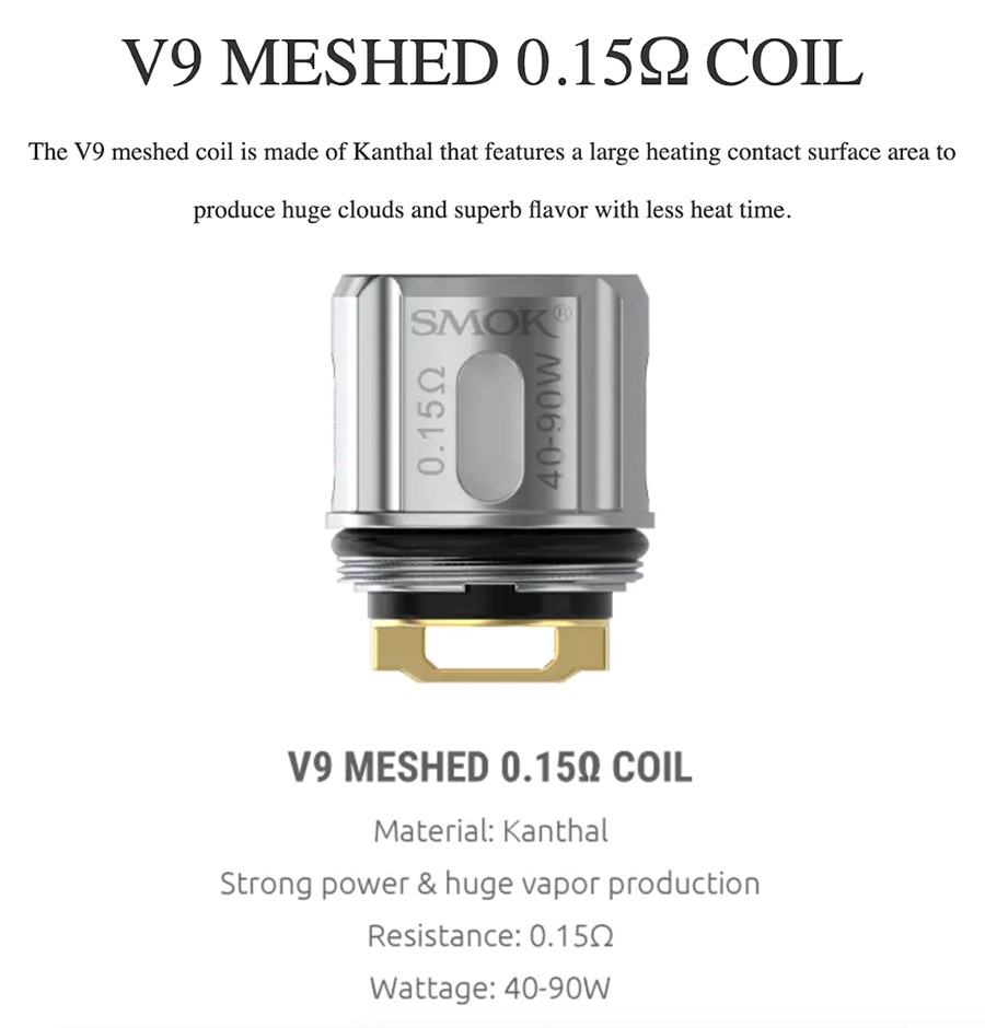 Experience enhanced vapour production with the V9 mesh coils - specially designed to support the Smok TFV9 tank.