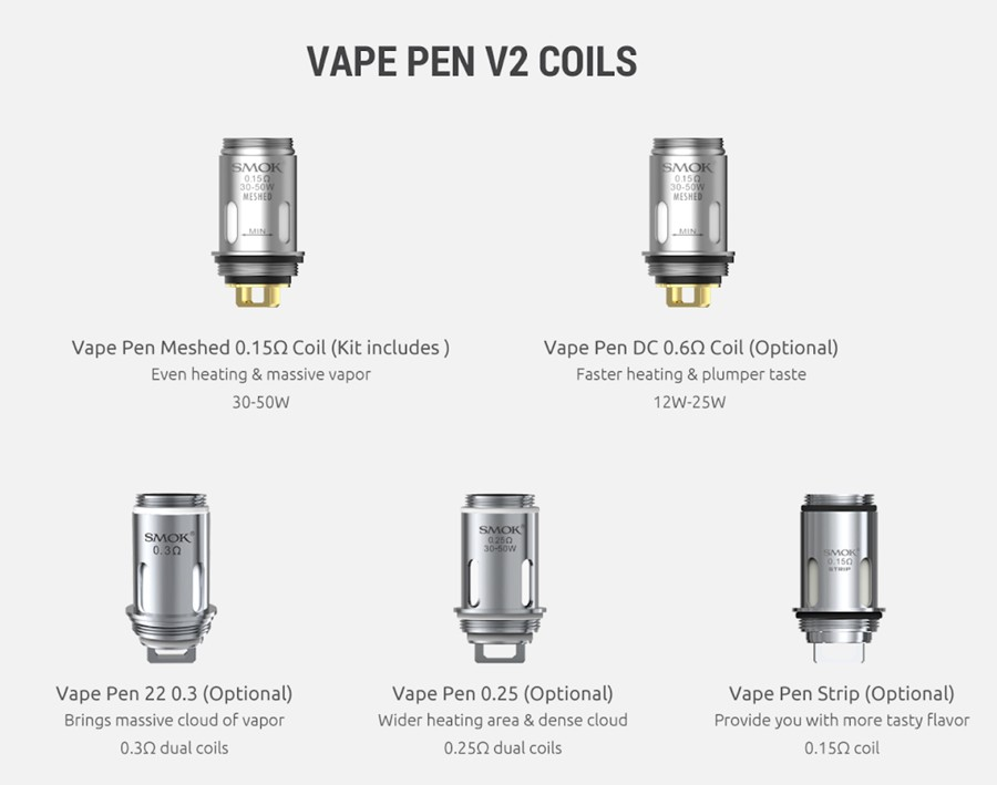 The Smok Vape Pen V2 employs the Vape Pen V2 coil series, available in a range of sub ohm resistances and builds.
