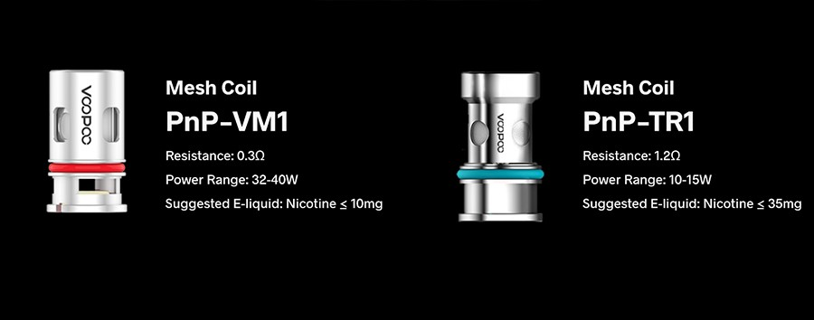 The Argus pod kit comes included with the PnP VM1 0.3 Ohm mesh coil and the PnP TR1 1.2 Ohm coil, as well as being compatible with the entire PnP coil series.