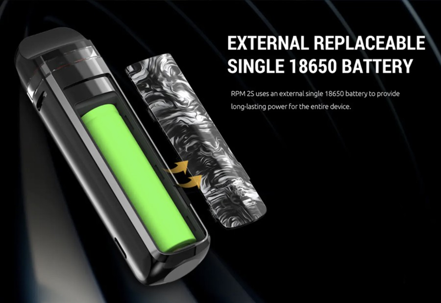 The Smok RPM2S pod kit is powered by a single 18650 battery with an 80W max output which can be adjusted.