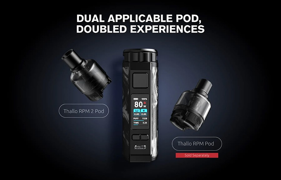 The Smok Thallo pod kit employs two pod variants, the Thallo RPM pod and the Thallo RPM2 pod, which utilise the RPM and RPM2 coil series respectively.