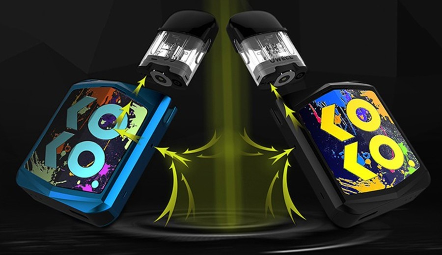 The 690mAh Caliburn Koko Prime pod kit features a dual airflow system, by rotating which way the pod is inserted.