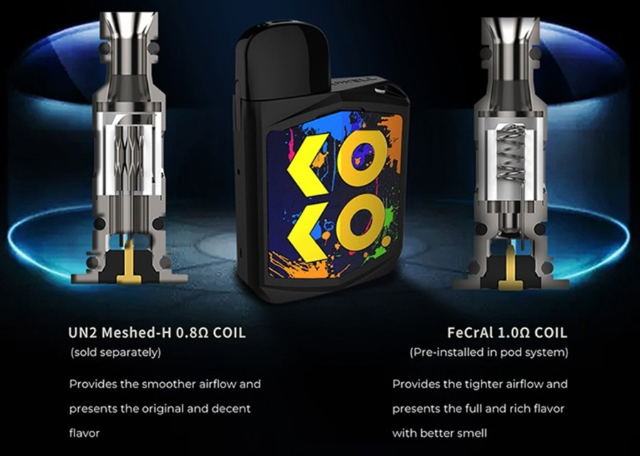 The Caliburn Koko employs the Caliburn G pods which utilise the Caliburn G coil series, available as a UN2 0.8 Ohm meshed coil or a 1.0 Ohm kanthal coil.