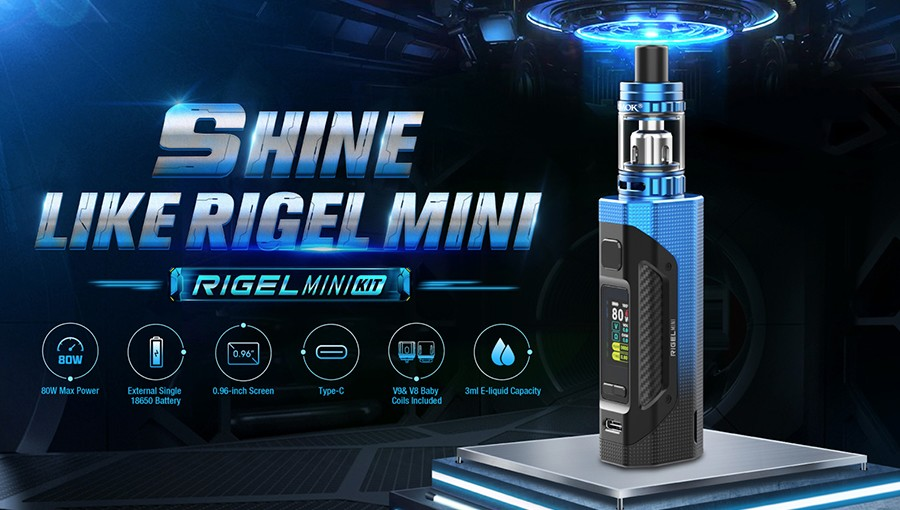 The Smok Rigel Mini kit is a pocket-sized kit that has been designed for sub ohm vaping.