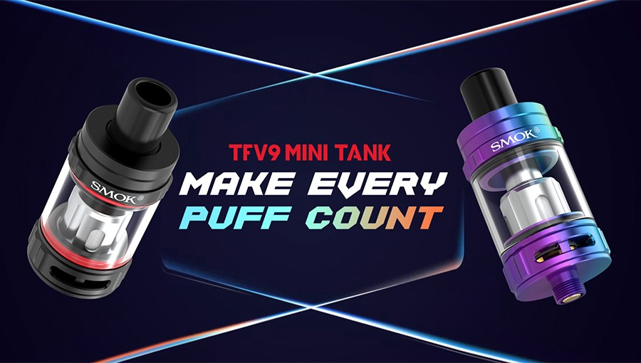 The Smok TFV9 Mini is a 2ml sub ohm tank that can be utilised to produce large amounts of vapour and remains simple to use.