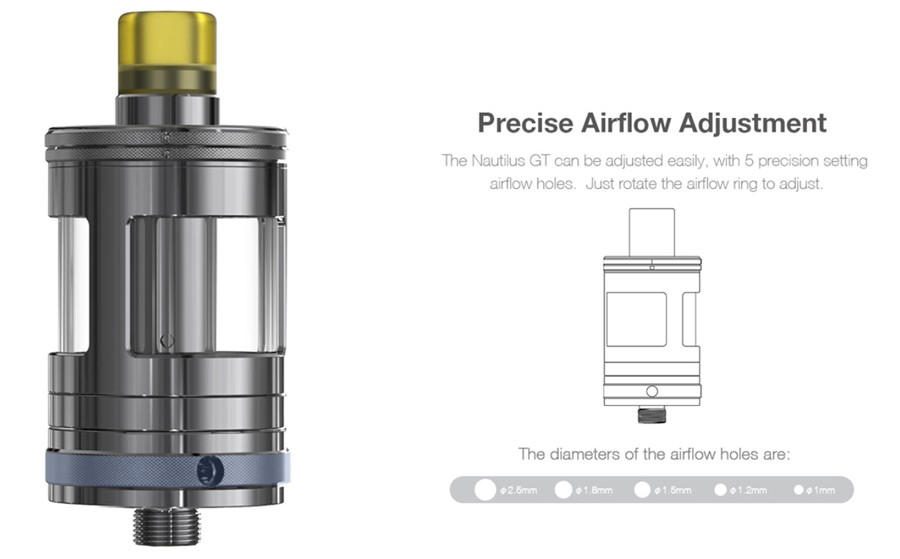 The Nautilus GT tank features five adjustable airflow settings for a versatile inhalation preference.