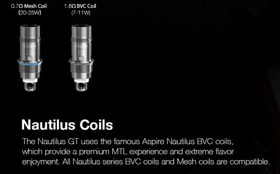 The Nautilus GT tank is compatible with the entire Nautilus BVC coil series for a customisable vape.