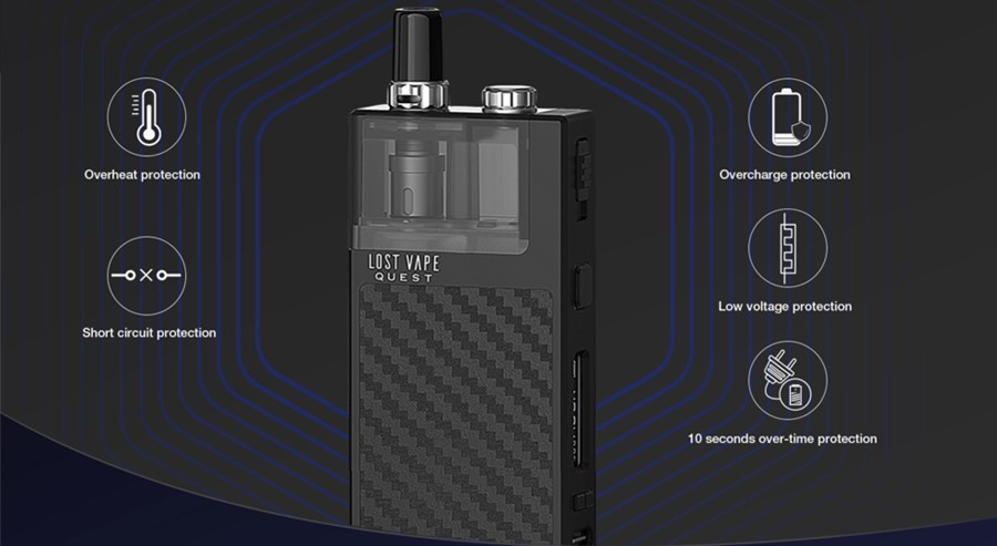 The Lost Vape Q-Ultra is equipped with a range of safety features, including short circuit and overheat protection for a long-lasting vape device.