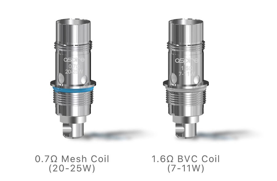 The Nautilus GT tank is compatible with all of the Aspire BVC coil range including the 0.7 Ohm mesh coil.