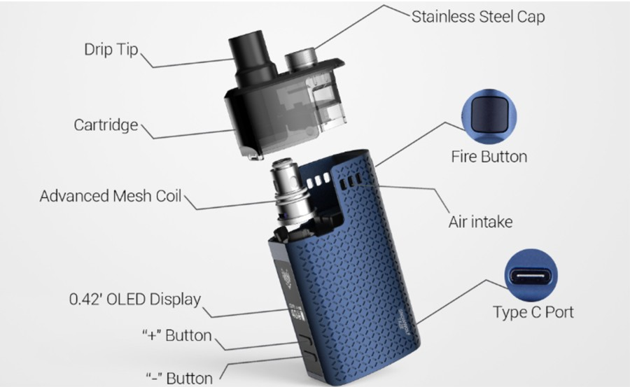 The Snowwolf Taze pod kit is powered by a 1600mAh battery with a 40W max output.