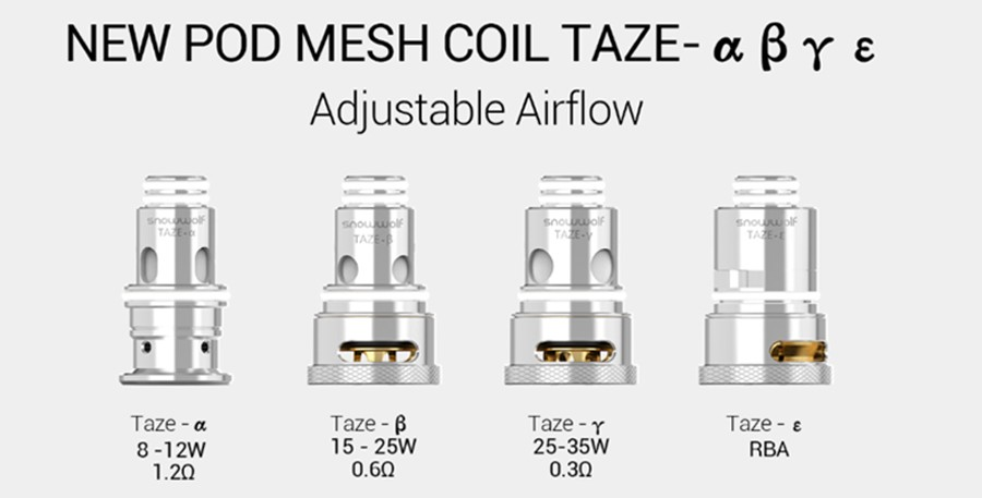 The Snowwolf Taze pod is compatible with the Taze mesh coils which feature adjustable airflow, available in a range of resistances as well as an RBA coil.