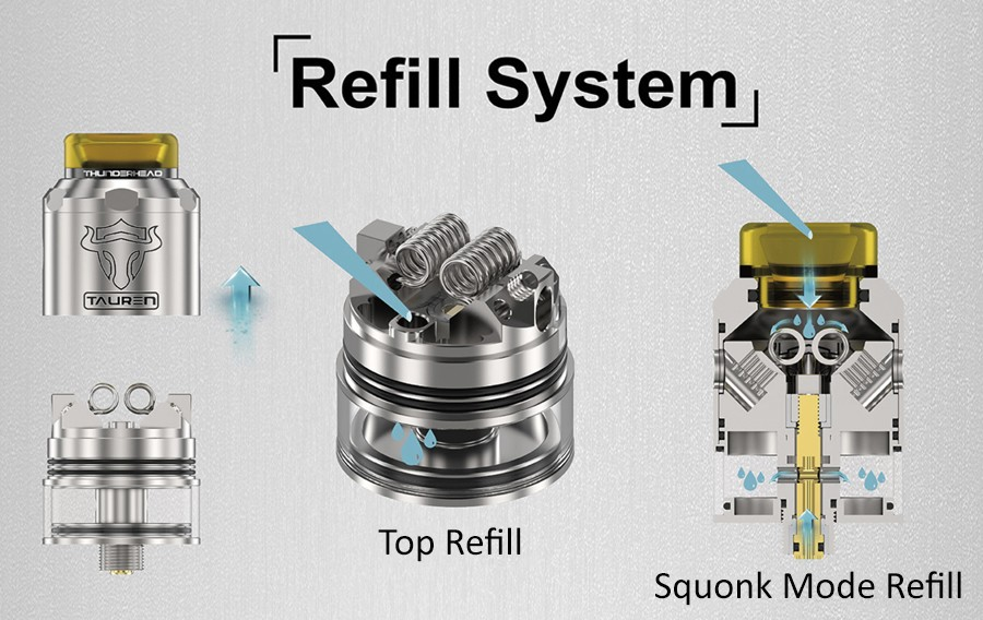 Simple to refill, The Tauren rebuildable atomiser holds 2ml of e-liquid and can be filld in two ways
