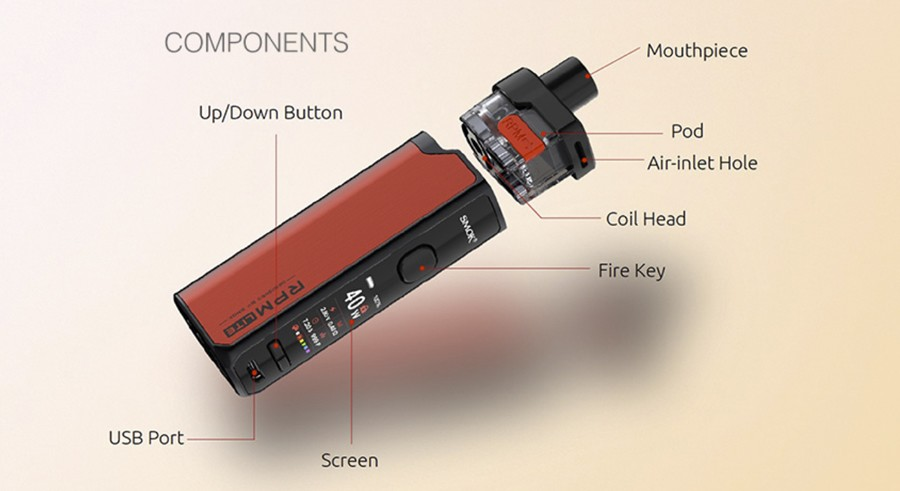 The Smok RPM Lite is the more compact version of the RPM series, for a pocket-friendly experience.