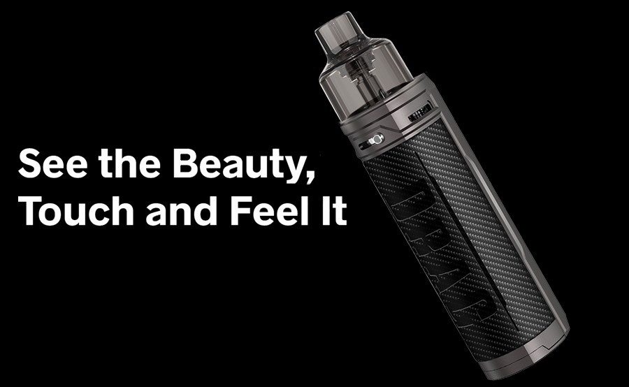 The Voopoo Drag X sub ohm pod kit features a metal alloy and leather construction for a stylish yet ergonomic design.