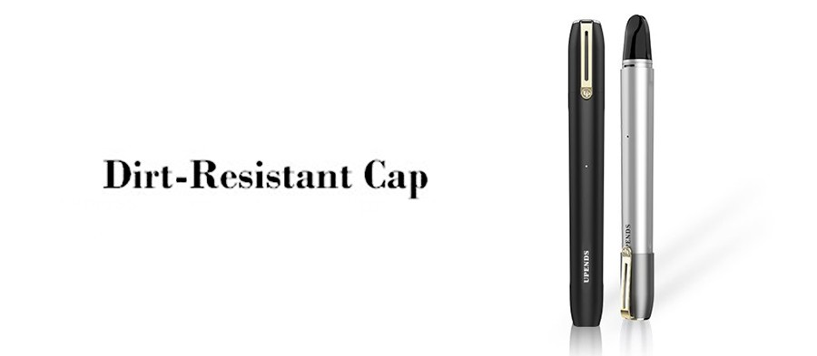 The Uppen 600mAh pod kit is equipped with a mouthpiece cover, which features an 18K gold clip for elegance and style.