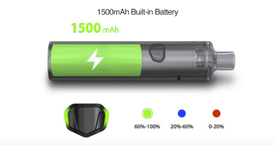 The iJust AIO kit features a 1500mAh built-in battery with a 20W max output which can be adjusted using the three power settings.