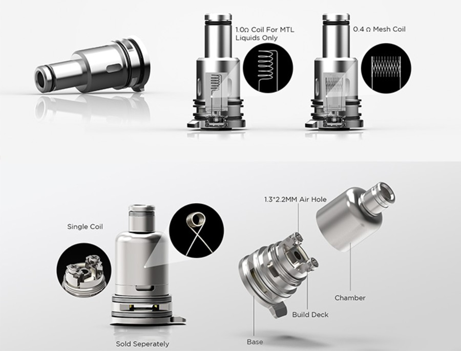 Utilising a removable coil system, the Narada Pro is compatible with a variety of coils including an advanced RBA coil.