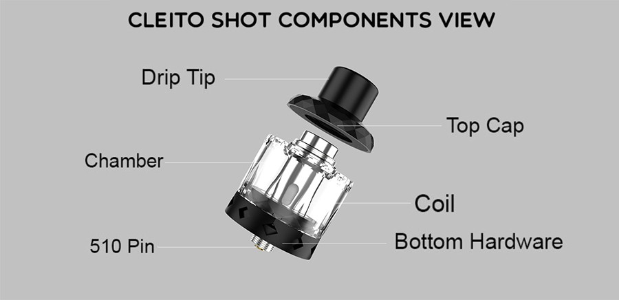 The disposable Cleito Shot tank features a removable top cap and built-in coil.